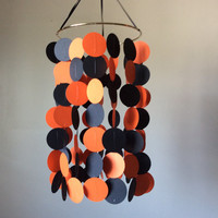 Orange and Black floating circle paper Mobile. Baby Nursery, Crib mobile. Birthday.  Happy Halloween, Choose Your Colors!