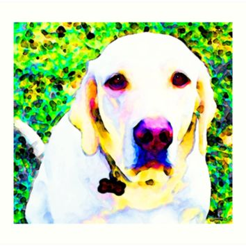 'You Are My World - Yellow Lab Art' Art Print by Sharon Cummings