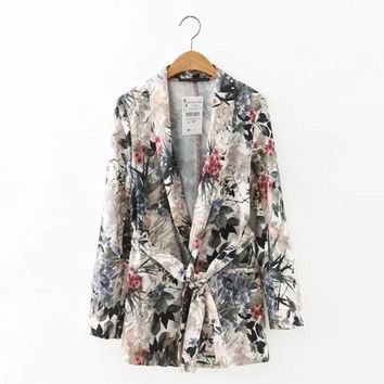 Vintage Floral Leaf Plant Ink Pattern Ethnic Slim Blazer Suits Retro Women Casual Long Sleeve Notched Sashes Coat Tops With Belt