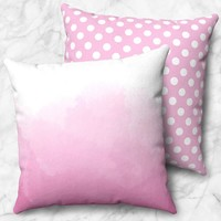 Pink Watercolor Polka Dot Pillow - Pink Throw Pillow, Watercolor Throw Pillow - Size Options - Cover Only or Full Pillow - Made to Order