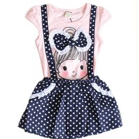 Baby Girls Kids Polka Dot One-pieces Dress Skirt Summer Dress Belt Clothing 2-6y