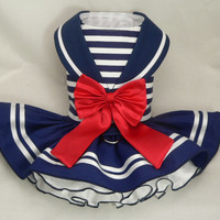 Dog dress.Nautical Maritime Sailor by Poshdog. Tutu skirt.