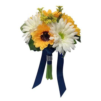 "7.5"" Bouquet - Sunflower and Gerbera Daisy Artificial Flowers - Pick Ribbon Color"