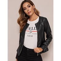 SHEIN Zip Up PU Leather Jacket