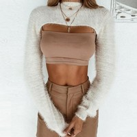 Knit Hot Sale Autumn Women's Fashion Round-neck Long Sleeve Crop Top Slim Tops [1414817513569]