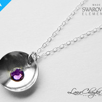 Sterling Silver Necklace, 925 Sterling Silver Purple Charm Necklace, Swarovski Amethyst, Wedding Silver Purple Necklace FREE US Shipping