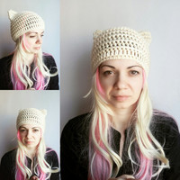 Cream Pussy cat Hat Pussy Hat Women Valentine's Gift Girl Cat Hats Animal Hat for Girl Women Off White Hat with Ears Cat Hat PussyCat Hat