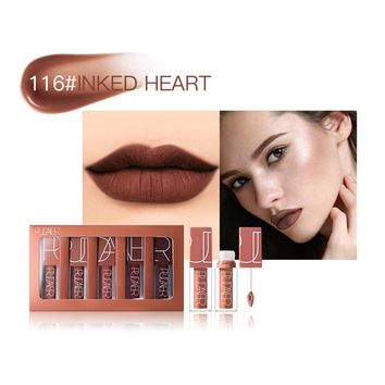 Round Tube Matte Non-stick Cup Matte Lipstick Waterproof Non-fading Lip Gloss Long Lasting Sweet Girl Lip Makeup