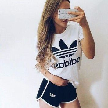 CREYUP0 adidas fashion short sleeve running sport gym set two piece sportswear