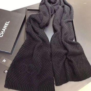 LMFUP0 Chanel Women Cashmere Warm Winter Knit Cape Scarf Scarves2