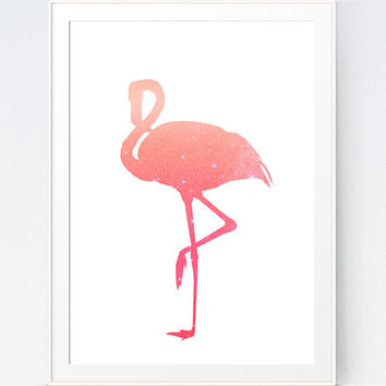 Flamingo Print, Pink Coral Peach Flamingo Decor, Pink Flamingo Wall Art Silhouette, Flamingo Silhouette, Coral Wall Print, INSTANT DOWNLOAD
