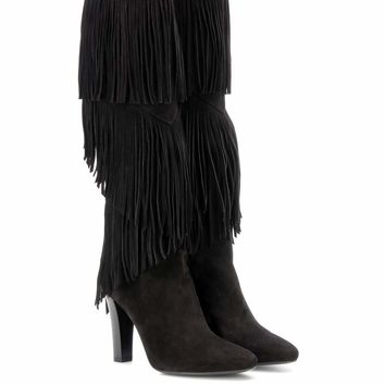 Lily 95 fringed suede boots