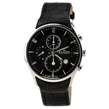 Skagen 329XLSLB Men's Black Dial Black Leather Strap Chronograph Watch