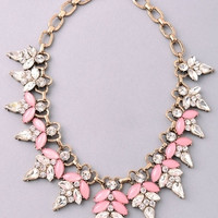 Assorted Teardrop Bib Brass Statement Necklace - Rose or Blue