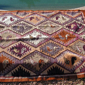 Turkish Kilim Blanket Weaving Rug Woven Tribal Birds Southwestern Primitive Woven Textile  46 x 63 Fringe Throw Decor