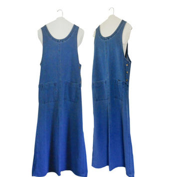 90s Denim Dress Denim Maxi Dress Long Denim Dress Chambray Dress Maxi Dress Women Long Maxi Dress Women Overall Dress Women Jumper 1990s