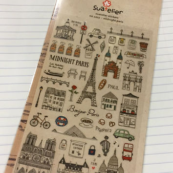 Paris Suatelier Stickers - 1 sheet - Midnight Paris Travel Theme Scrapbook Supplies Korea kawaii sticker set 90x150
