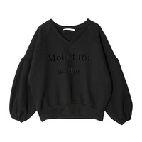 Lettering Print Bishop Sleeve Sweatshirt