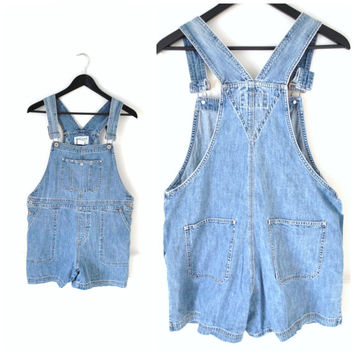 denim OVERALL shorts vintage early 90s GRUNGE faded jean short bibs SHORTALLS denim dungarees overalls