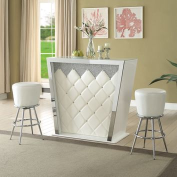 Acme 72365 Sphaerio II front ivory vinyl upholstered bar unit with chrome accents
