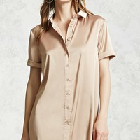 Satin Button-Down Shirt Dress