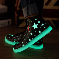 2015 Men shoes luminous Fluorescence women High tops Star Light Up Glowing For Lovers Adults Leather black white zapatos mujer