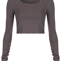Long Sleeve Crop Tee - Jersey Tops - Clothing - Topshop