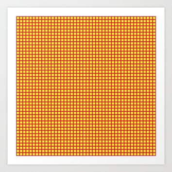 Pink On Yellow Grid Art Print by Moonshine Paradise