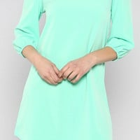 Mint Solid Tunic Dress