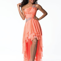 Nina Canacci W1054 Orange Chiffon Beaded One Shoulder Open Back Prom Dress 2015 Prom Dresses