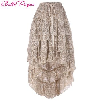 2017 Steampunk Fluffy Skirt Tan Retro Ruffled Chiffon Cake High Low Lace Midi Skirt Plus Size Fluffy Skirt for Women Ball Gown