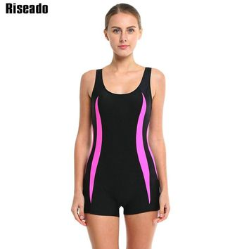 Riseado Swimwear Women Conservative One Piece Swimsuit Sports Swimming Suits Boyshorts Racer Back Beachwear Bathing Suits