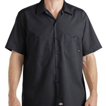 Dickies Occupational Workwear LS535BK 3XLT Polyester/ Cotton Men's Short Sleeve Industrial Work Shirt, 3X-Large Tall, Black