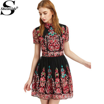 Sheinside Embroidery Party Dress Women Black Vintage Mesh Overlay Boho Skater Summer Dresses 2017 New Cute Lapel A Line Dress