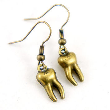 Tiny Tooth - Antiqued Brass Vintage Style Teeth Dangle Earrings - CP021
