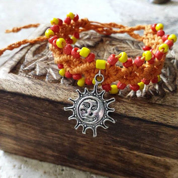 Sun Charm Hemp Bracelet Orange Beaded Hemp Jewelry Macrame Cuff