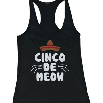 Women's Funny Statement Design Tank Top - Cinco De Meow