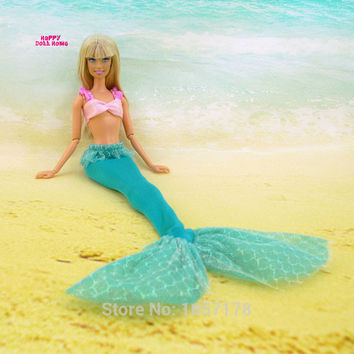 Fairy Tale Mermaid Outfit Sea Princess Costume Tops Bra Fishtail Clothes For Barbie Doll FR 11.5 12 inch Kids Girl Toys Gift