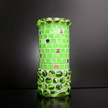 Fresh apple green mosaic vase handmade flower vase spring green home decor mothers day glass vase for mom