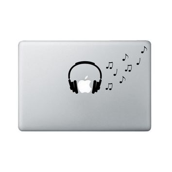 Headphones Macbook Decal - Music Notes Laptop Decal - Music Decal