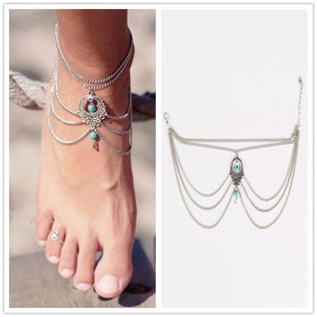 1PC Hot Summer Ankle Bracelet Bohemian Foot Jewelry Turquoise Turquoise Anklets for Women FC029