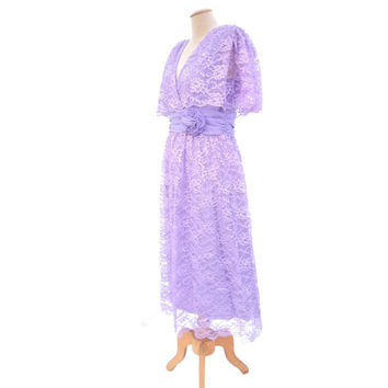 NOS Vintage Surplice Dress 80s Miss Elliette Lavender Purple Lace Unworn