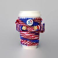 4th of July cup cozy. Travel mug sweater. Hot coffee. Hot chocolate. Red white blue. Independence Day sweater. Starbucks cup sleeve