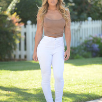 Essential High Waist Skinny Jeans - White