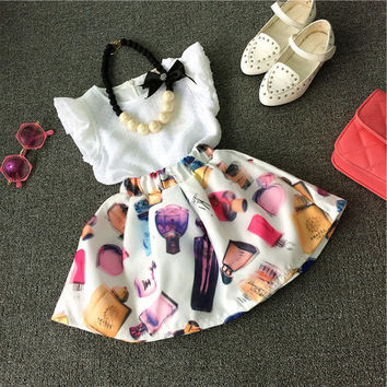 Cute Kid Girls Baby Clothes Dresses 2pcs Piece Fashion New Sleeveless T-shirt Tops Floral Lace Dress Suit Outfit 1 2 3 4 5 Years