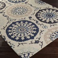 Centennial Area Rug   Blue Ikat and Suzani Rugs Hand Hooked   Style CNT1103