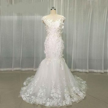 Mermaid Lace Wedding Dresses With Cape Sleeves 3D Flower Beads  Wedding Dress