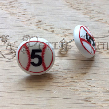 Customizable baseball earrings, baseball, tball, softball, jewelry, handmade, vinyl, permanent, customize, personalize, gift, present,