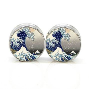 ac DCCKO2Q 1 pair Great Wave stainless steel night owl plug tunnels double flare ear plug gauges body piercing jewelry