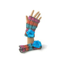 Multicolor gloves striped gloves floral fingerless gloves in turquoise orange and pink alpaca with turquoise ribbon rose